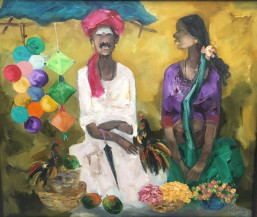 Badami Man and Woman I | 26 X 31 Inches