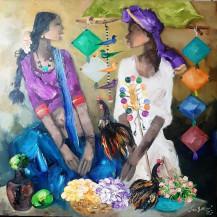 Badami Man & Woman | 34 x 34 in