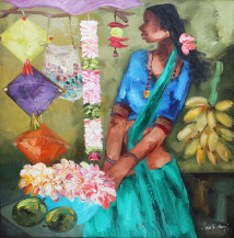 Badami Woman | 36 X 36 Inches