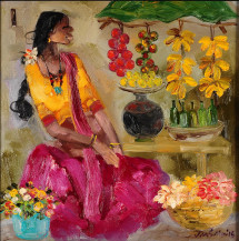 Badami Woman | 17.5 x 17.5 Inches
