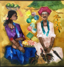Badami Woman and Badami Man | 30 X 30 Inches