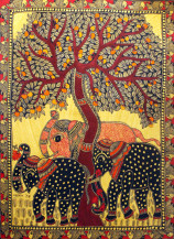 Elephant Under The Tree of Life | 30 X 22 Inches