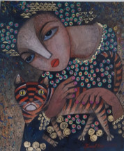 Lady With Cat I | 24 X 20.5 Inches