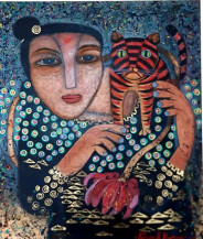 Lady With Cat II | 24 X 20.5 Inches