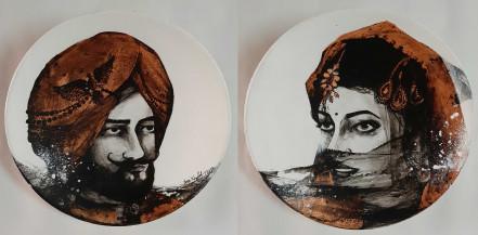 Maharaja and Maharani I | 9 Inches diameter each