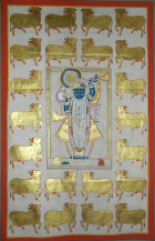 Shreenathji with Golden Cows (249) | 58.5 x 37.5 Inches