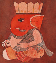 Shri Ganapati With The Lamp Of Learning Vidya   12 1/4 x 11 Inches